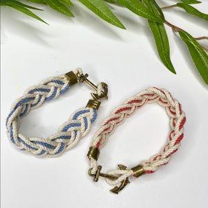 Kiel James Patrick Red Blue Nautical Rope Bracelet
